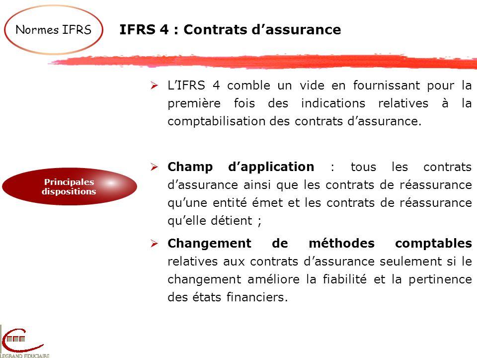 IFRS 4 : Contrats dassurance LIFRS 4 comble un vide en fournissant pour la première fois des indications relatives à la comptabilisation des contrats