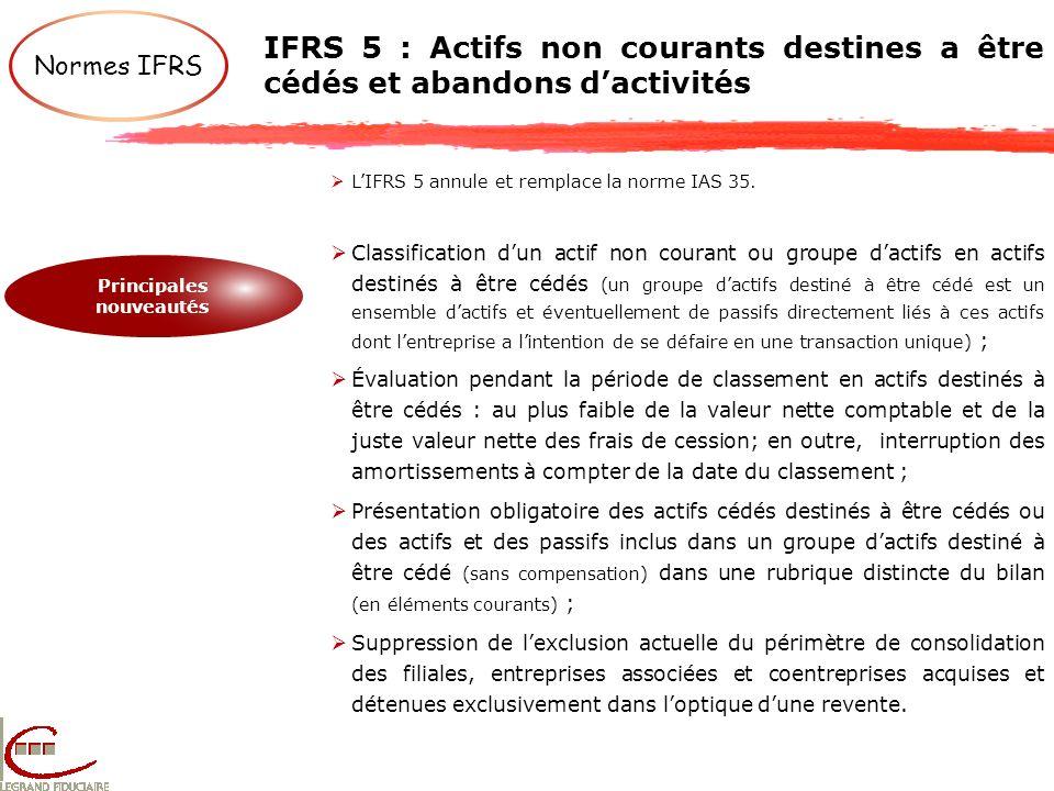 Normes IFRS IFRS 5 : Actifs non courants destines a être cédés et abandons dactivités Principales nouveautés LIFRS 5 annule et remplace la norme IAS 3