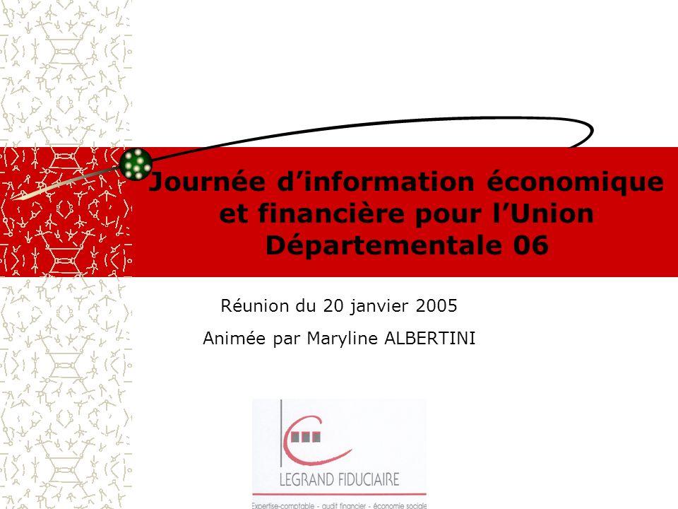 Journée dinformation économique et financière pour lUnion Départementale 06 Réunion du 20 janvier 2005 Animée par Maryline ALBERTINI