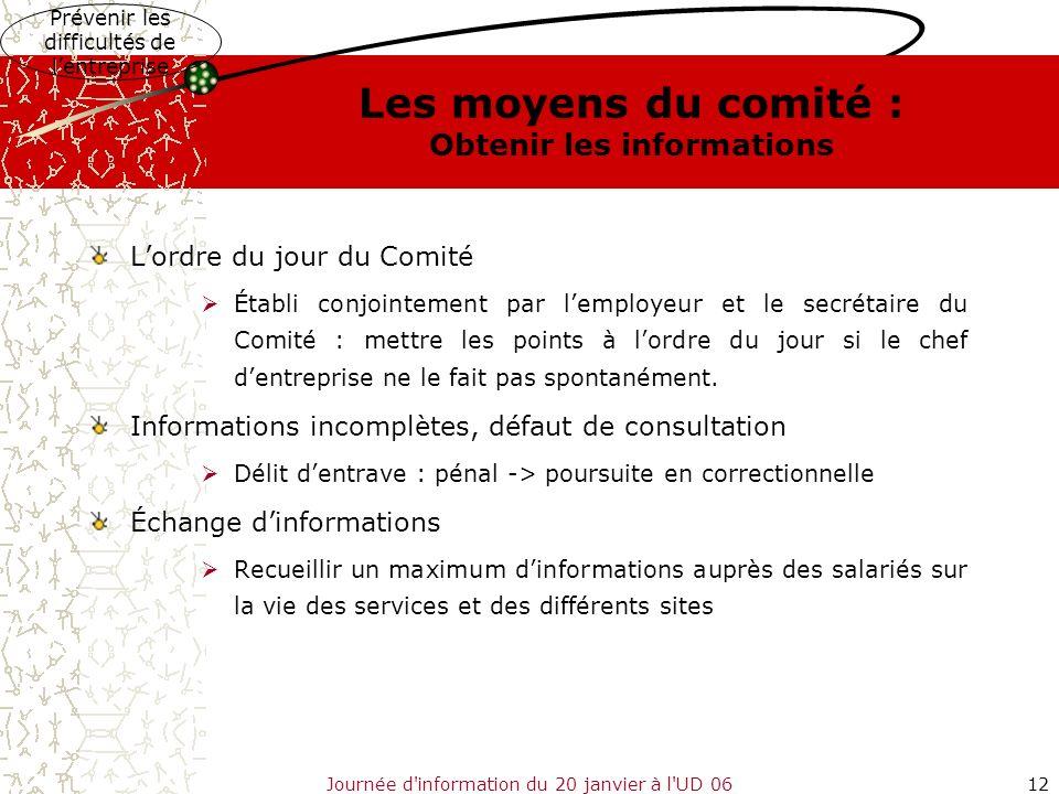 Journée d'information du 20 janvier à l'UD 0612 Les moyens du comité : Obtenir les informations Lordre du jour du Comité Établi conjointement par lemp