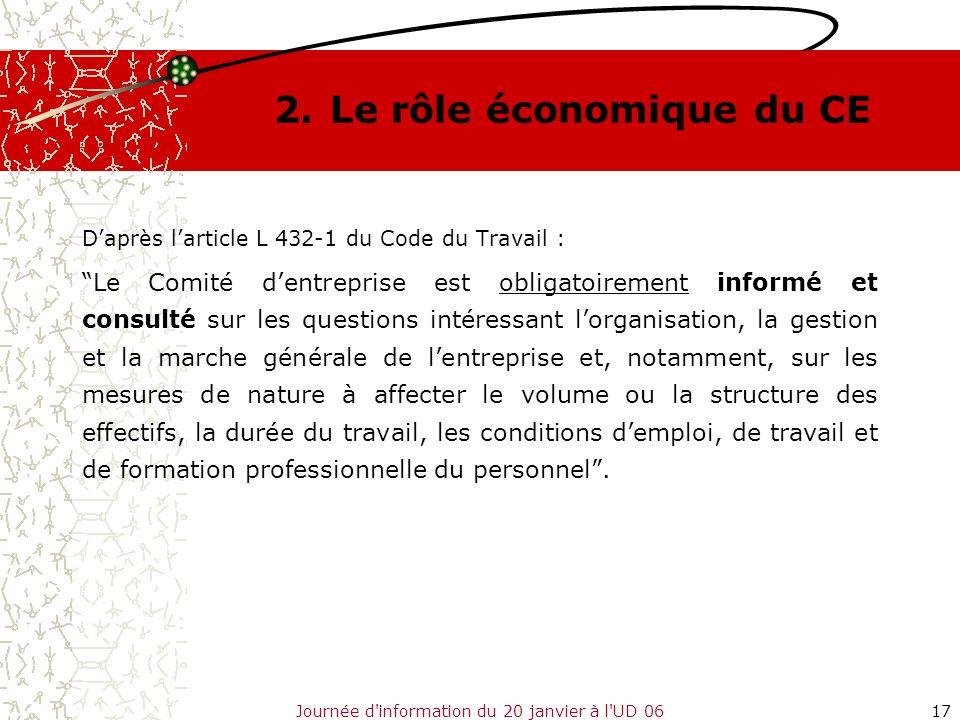 Journée d'information du 20 janvier à l'UD 0617 2.Le rôle économique du CE Daprès larticle L 432-1 du Code du Travail : Le Comité dentreprise est obli