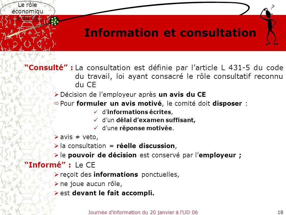 Journée d'information du 20 janvier à l'UD 0618 Consulté :La consultation est définie par larticle L 431-5 du code du travail, loi ayant consacré le r