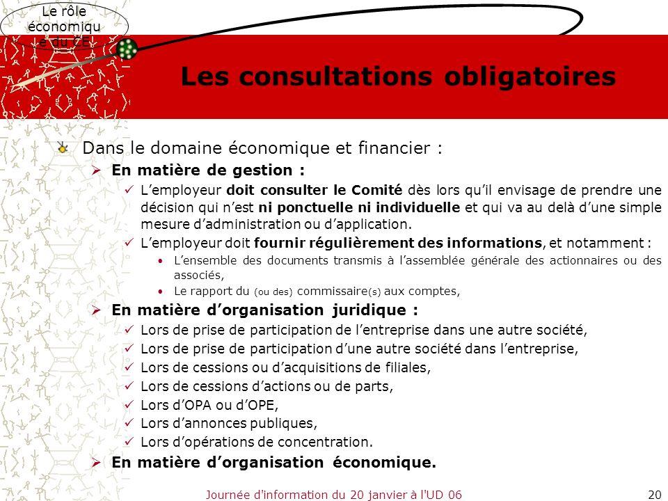 Journée d'information du 20 janvier à l'UD 0620 Les consultations obligatoires Dans le domaine économique et financier : En matière de gestion : Lempl