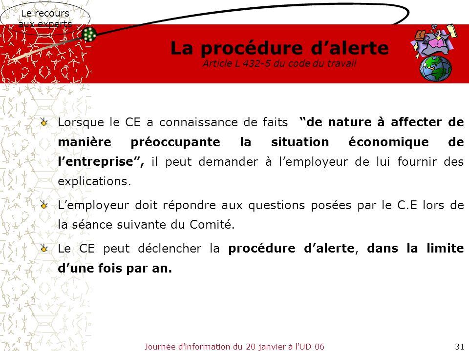 Journée d'information du 20 janvier à l'UD 0631 La procédure dalerte Article L 432-5 du code du travail Lorsque le CE a connaissance de faits de natur
