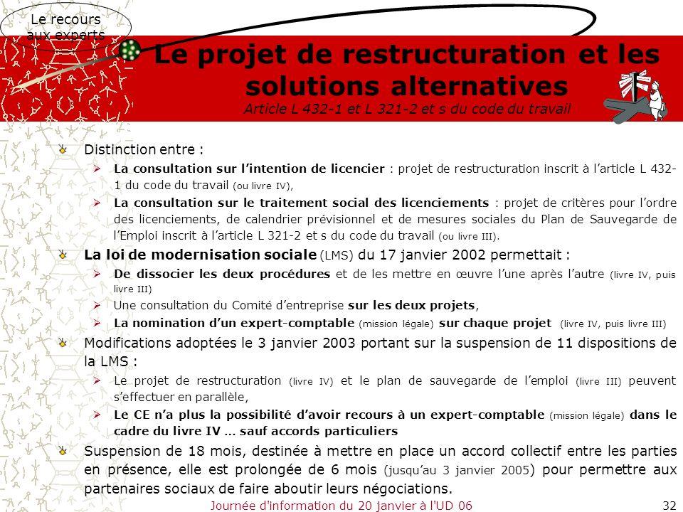 Journée d'information du 20 janvier à l'UD 0632 Le projet de restructuration et les solutions alternatives Article L 432-1 et L 321-2 et s du code du