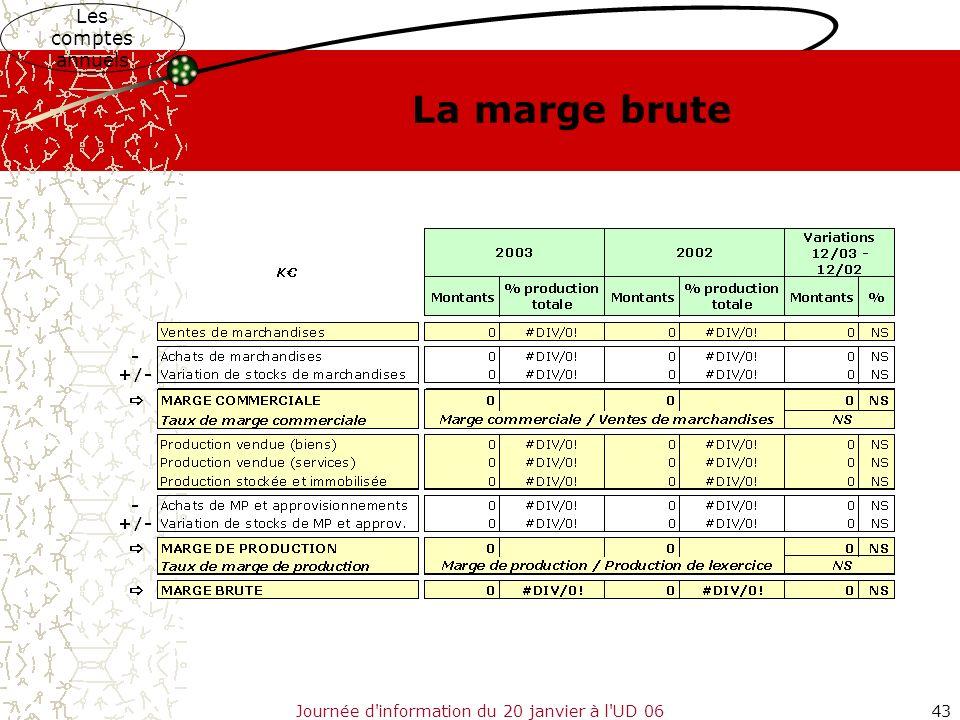 Journée d'information du 20 janvier à l'UD 0643 Les comptes annuels La marge brute