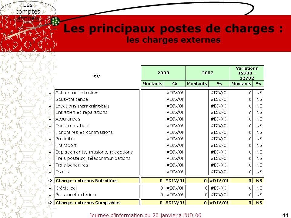 Journée d'information du 20 janvier à l'UD 0644 Les comptes annuels Les principaux postes de charges : les charges externes