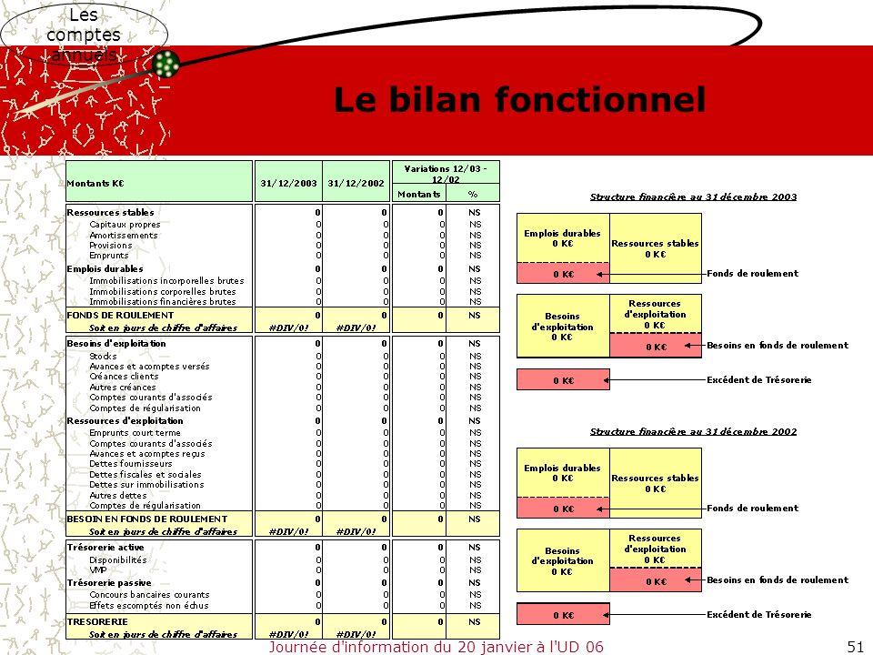 Journée d'information du 20 janvier à l'UD 0651 Le bilan fonctionnel Les comptes annuels
