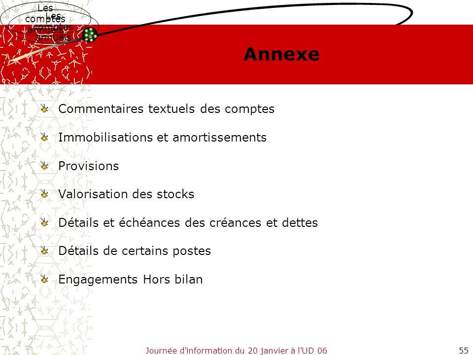 Journée d'information du 20 janvier à l'UD 0655 Annexe Commentaires textuels des comptes Immobilisations et amortissements Provisions Valorisation des