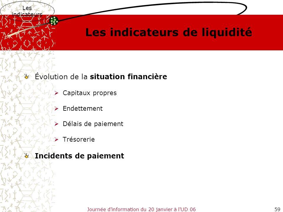 Journée d'information du 20 janvier à l'UD 0659 Les indicateurs de liquidité Évolution de la situation financière Capitaux propres Endettement Délais