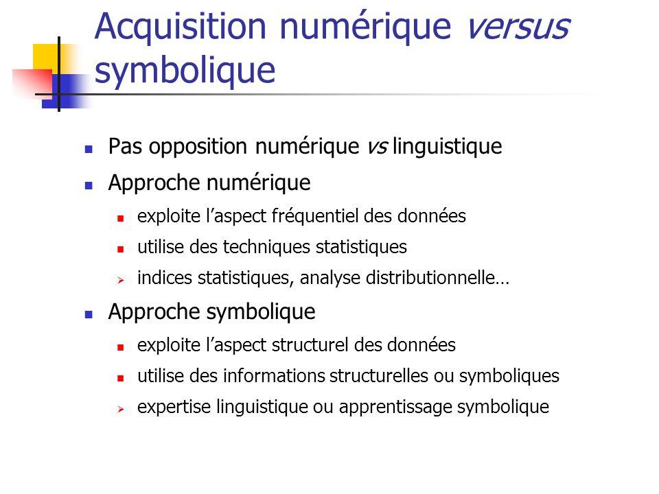 Acquisition numérique versus symbolique Pas opposition numérique vs linguistique Approche numérique exploite laspect fréquentiel des données utilise d
