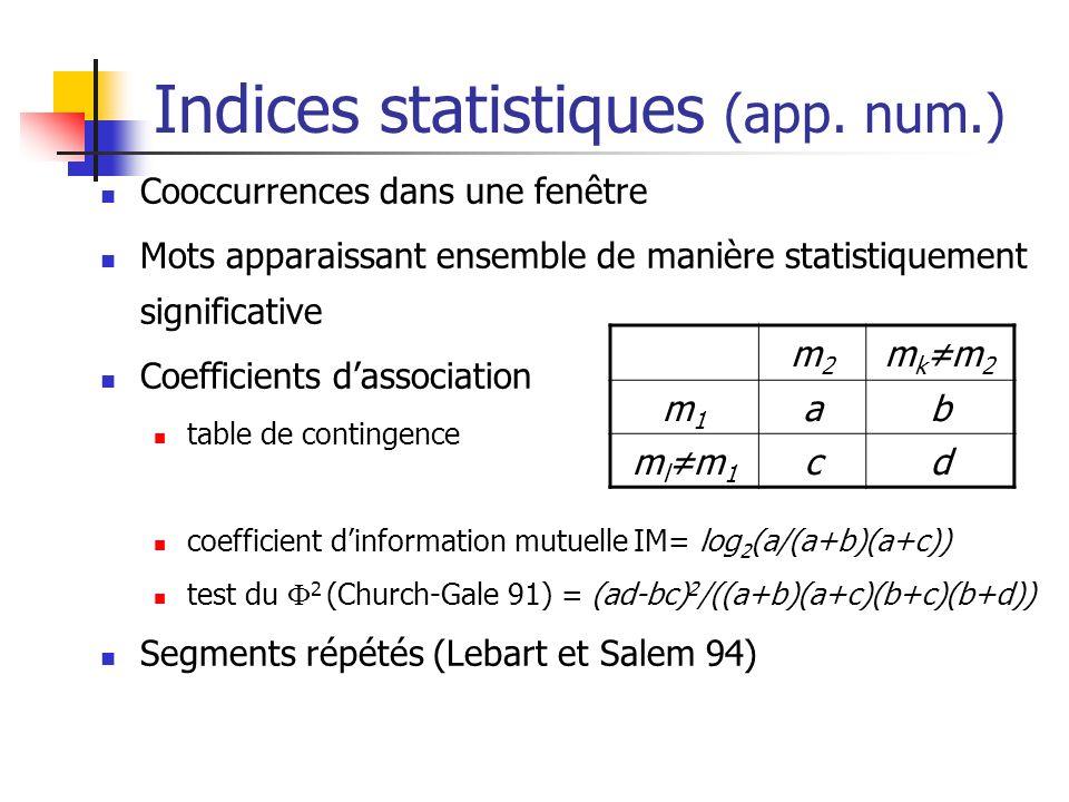 Indices statistiques (app. num.) Cooccurrences dans une fenêtre Mots apparaissant ensemble de manière statistiquement significative Coefficients dasso