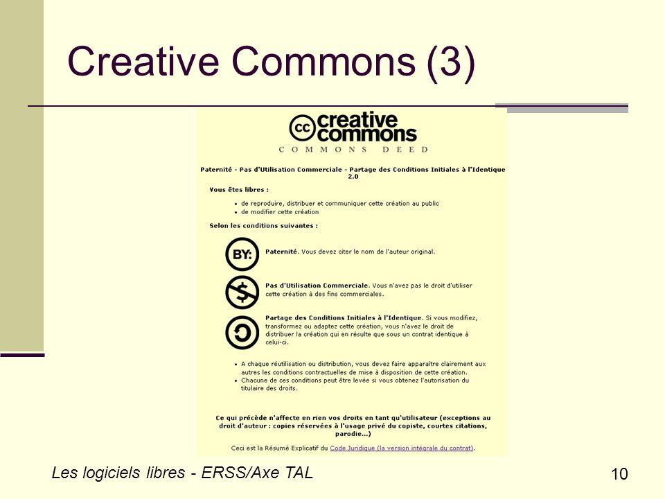 10 Les logiciels libres - ERSS/Axe TAL Creative Commons (3)