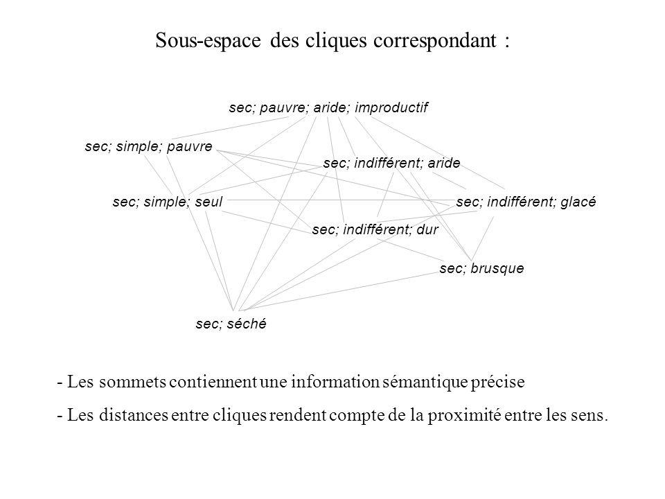 Sous-espace des cliques correspondant : - Les sommets contiennent une information sémantique précise - Les distances entre cliques rendent compte de l