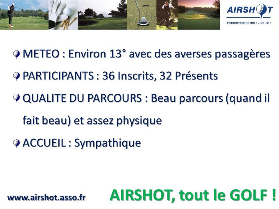 www.airshot.asso.fr AIRSHOT, tout le GOLF ! METEO : Environ 13° avec des averses passagères PARTICIPANTS : 36 Inscrits, 32 Présents QUALITE DU PARCOUR