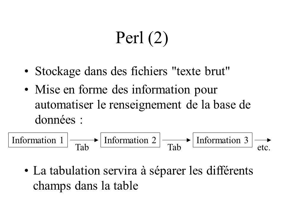 Perl (2) Stockage dans des fichiers texte brut Mise en forme des information pour automatiser le renseignement de la base de données : Information 1Information 2Information 3 Tab etc.