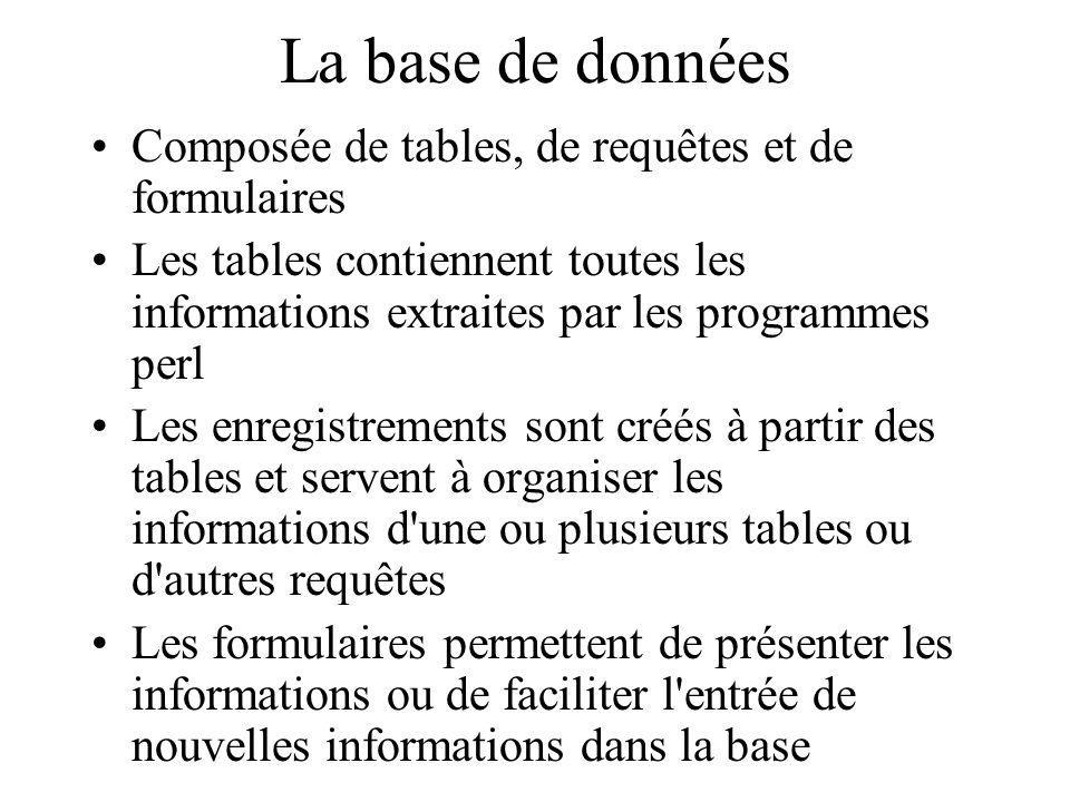 La base de données Composée de tables, de requêtes et de formulaires Les tables contiennent toutes les informations extraites par les programmes perl