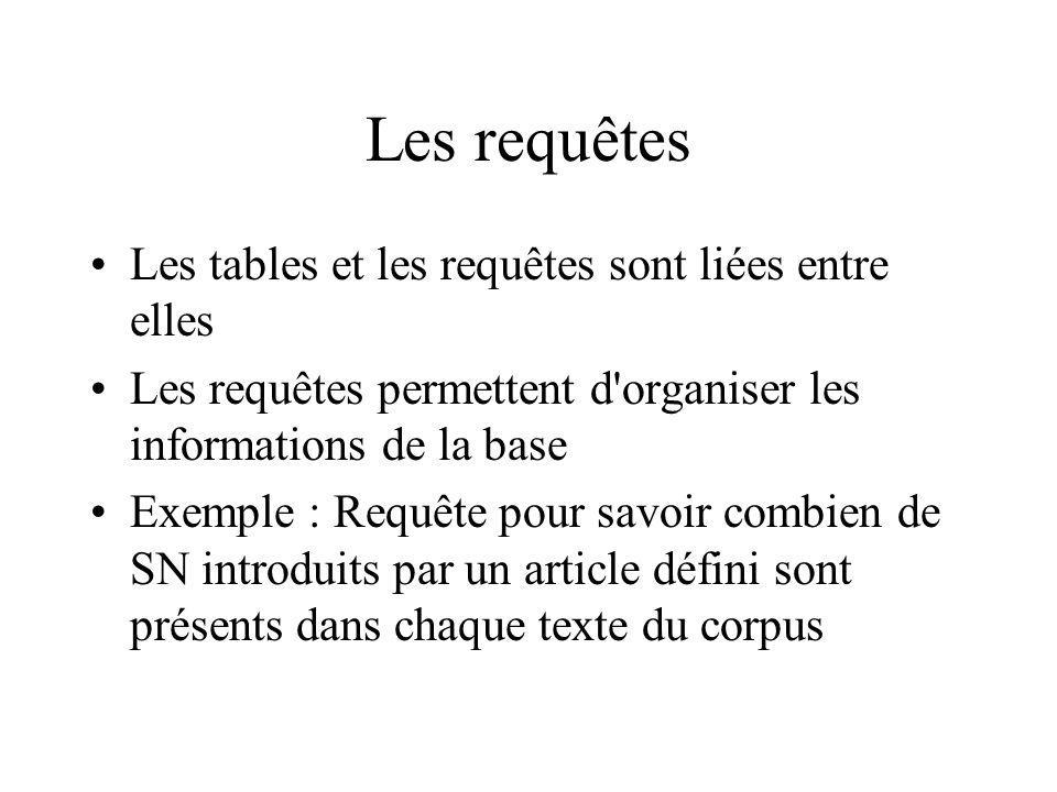 Les requêtes Les tables et les requêtes sont liées entre elles Les requêtes permettent d'organiser les informations de la base Exemple : Requête pour
