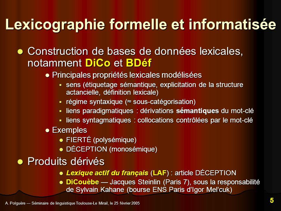 A. Polguère Séminaire de linguistique Toulouse-Le Mirail, le 25 février 2005 5 Lexicographie formelle et informatisée Construction de bases de données