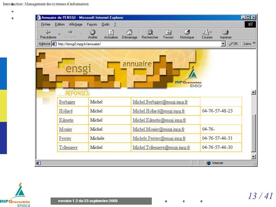 13 / 41 Introduction : Management des systèmes dinformation version 1.2 du 23 septembre 2003