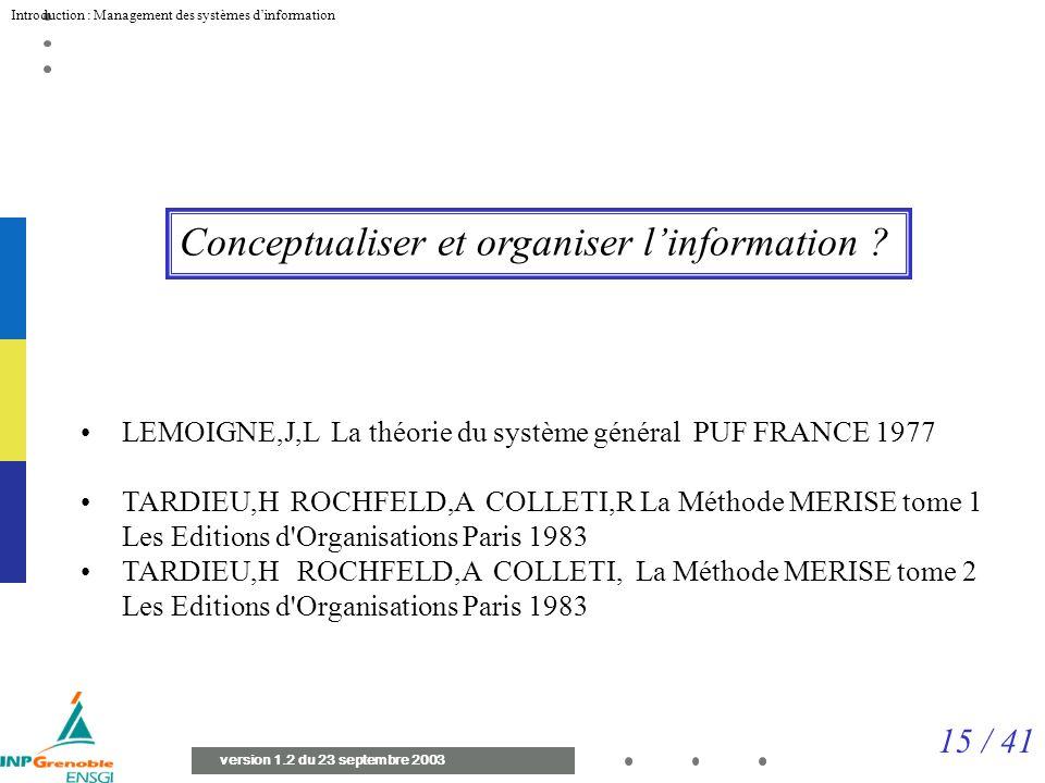 15 / 41 Introduction : Management des systèmes dinformation version 1.2 du 23 septembre 2003 Conceptualiser et organiser linformation .