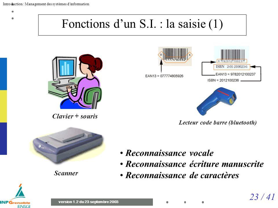 23 / 41 Introduction : Management des systèmes dinformation version 1.2 du 23 septembre 2003 Fonctions dun S.I.
