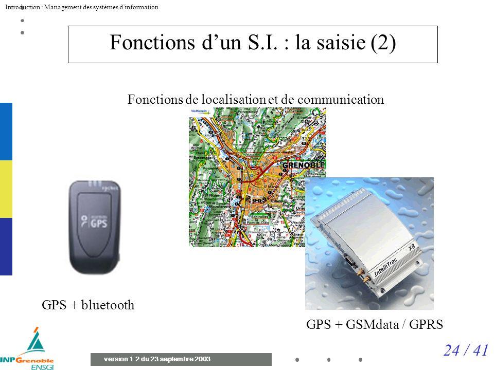 24 / 41 Introduction : Management des systèmes dinformation version 1.2 du 23 septembre 2003 Fonctions dun S.I.