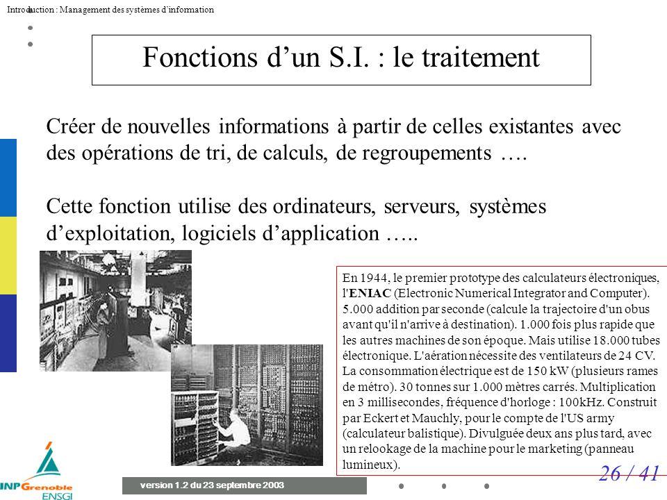 26 / 41 Introduction : Management des systèmes dinformation version 1.2 du 23 septembre 2003 Fonctions dun S.I.