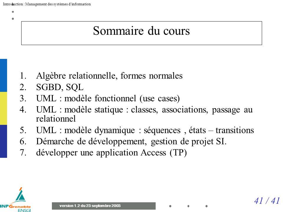 41 / 41 Introduction : Management des systèmes dinformation version 1.2 du 23 septembre 2003 Sommaire du cours 1.Algèbre relationnelle, formes normales 2.SGBD, SQL 3.UML : modèle fonctionnel (use cases) 4.UML : modèle statique : classes, associations, passage au relationnel 5.UML : modèle dynamique : séquences, états – transitions 6.Démarche de développement, gestion de projet SI.