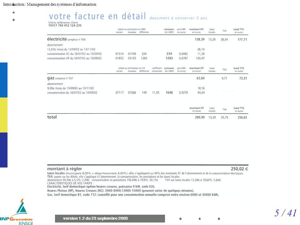 5 / 41 Introduction : Management des systèmes dinformation version 1.2 du 23 septembre 2003 Facture