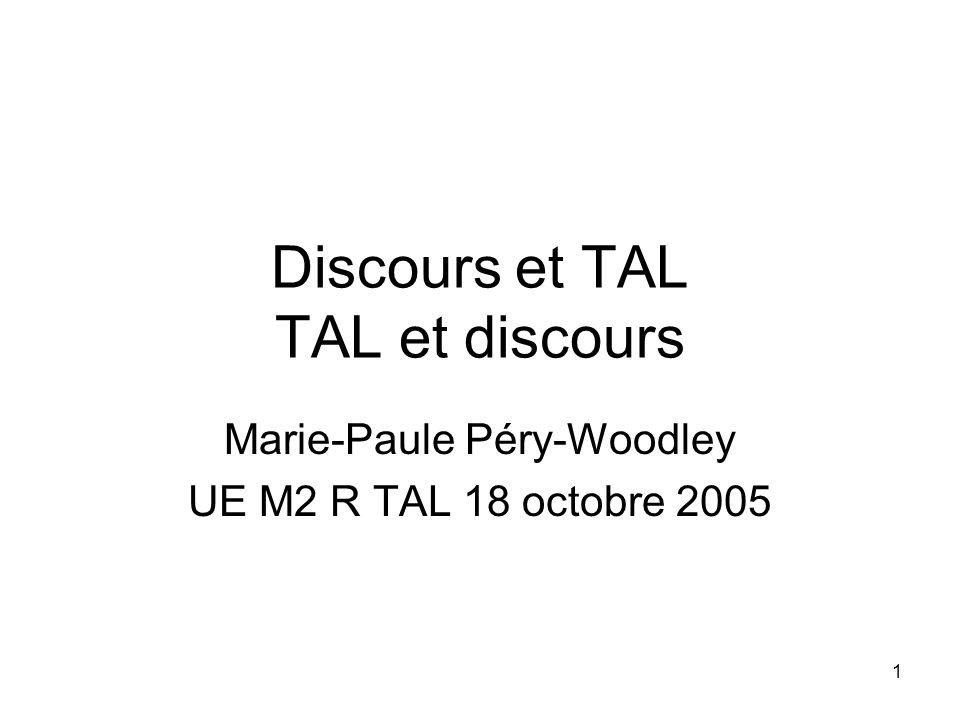 1 Discours et TAL TAL et discours Marie-Paule Péry-Woodley UE M2 R TAL 18 octobre 2005