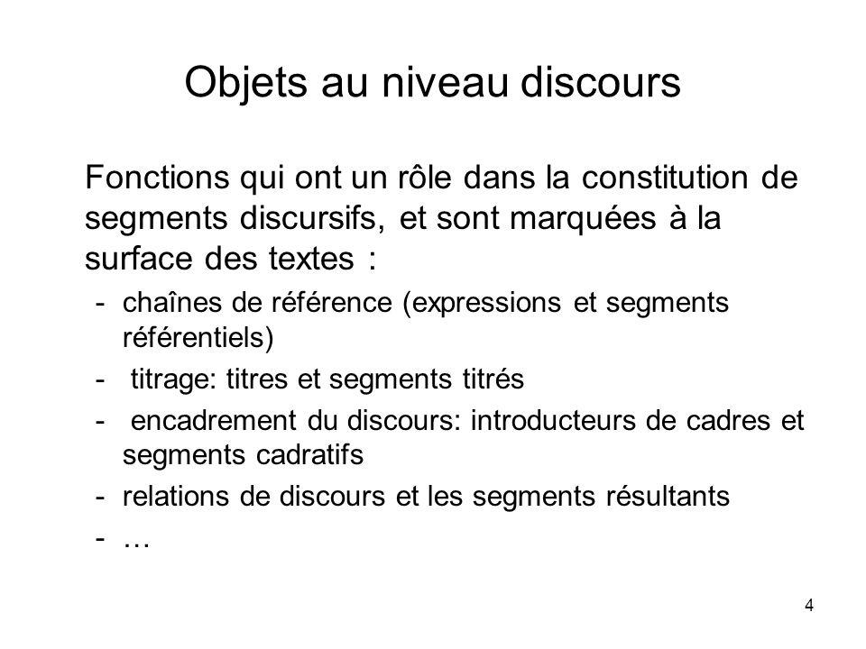 4 Objets au niveau discours Fonctions qui ont un rôle dans la constitution de segments discursifs, et sont marquées à la surface des textes : -chaînes