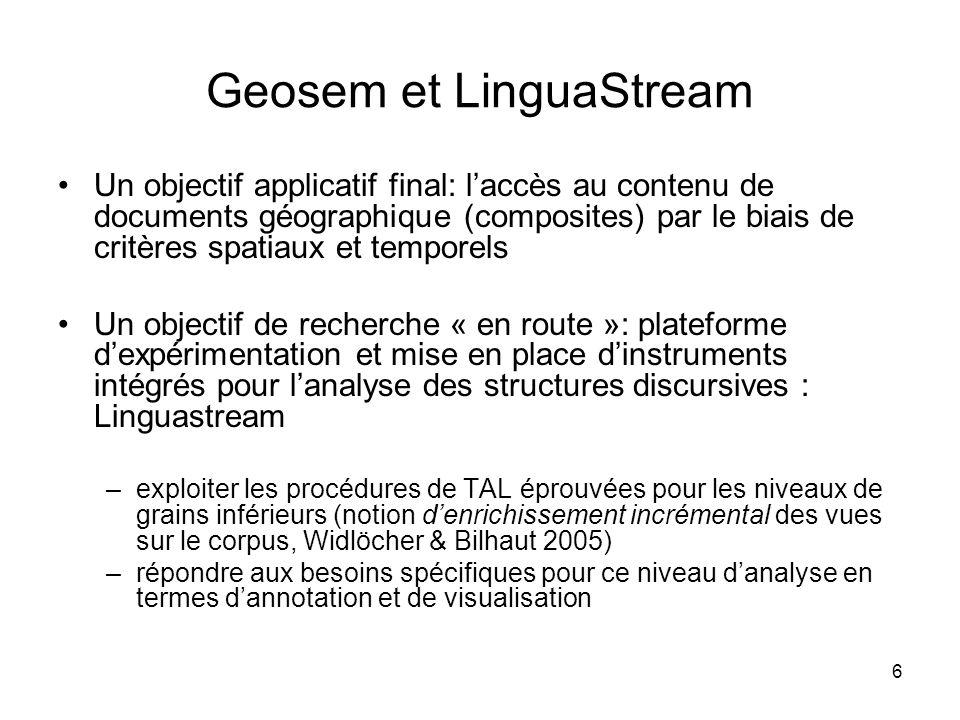 6 Geosem et LinguaStream Un objectif applicatif final: laccès au contenu de documents géographique (composites) par le biais de critères spatiaux et t