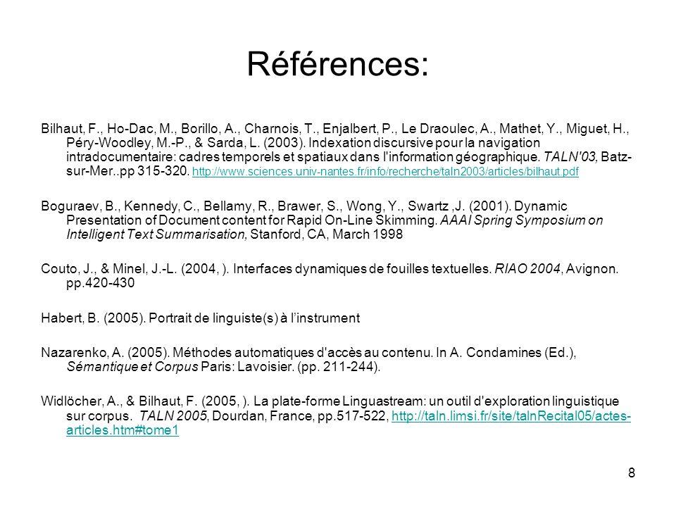 8 Références: Bilhaut, F., Ho-Dac, M., Borillo, A., Charnois, T., Enjalbert, P., Le Draoulec, A., Mathet, Y., Miguet, H., Péry-Woodley, M.-P., & Sarda