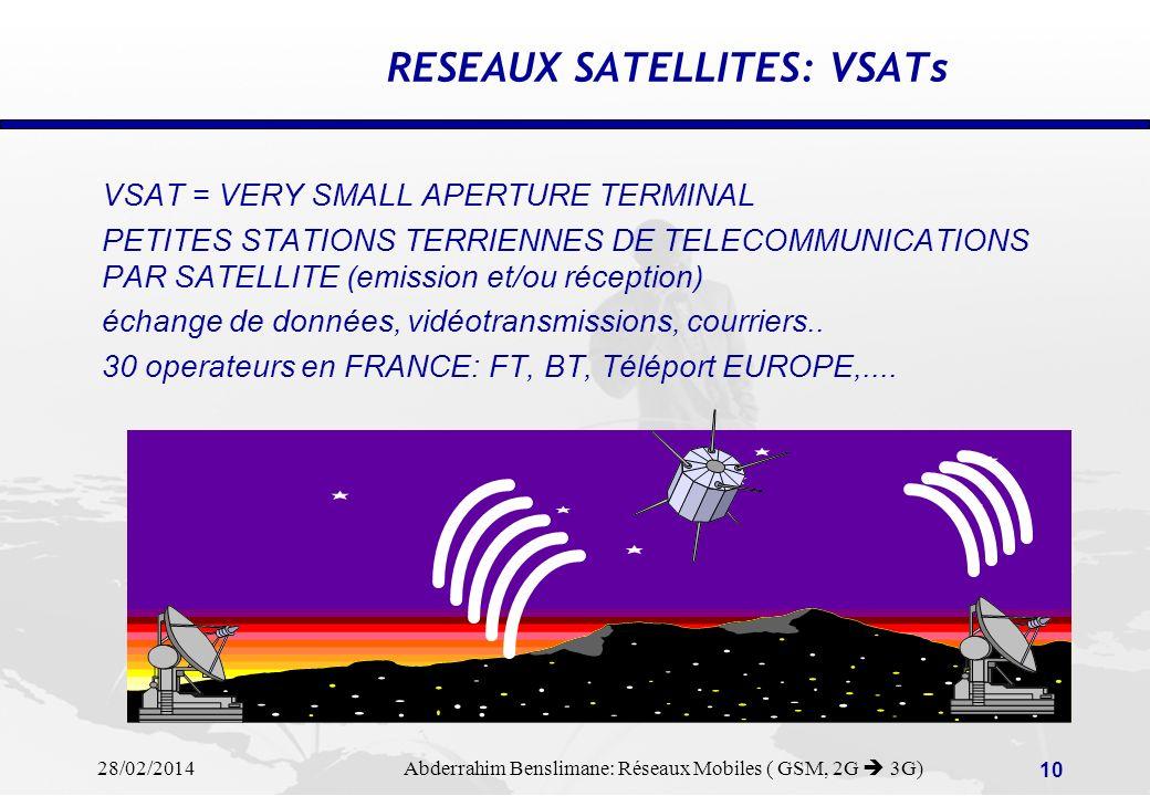 28/02/2014 Abderrahim Benslimane: Réseaux Mobiles ( GSM, 2G 3G) 9 RESEAUX SATELLITES A ORBITE BASSE: LEOs FUTURS PROJETS D UNE MULTITUDE DE PETITS SATELLITES EN ORBITE FAIBLE POUR COUVRIR TOUTE LA SURFACE TERRESTRE PROJET TELEDESIC Bill Gates MICROSOFT 840 satellites à 800km d altitude PROJET IRRIDIUM ???????.