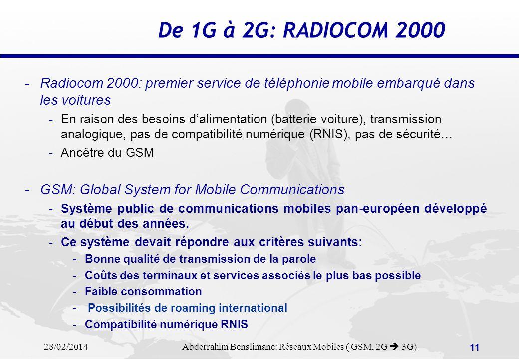 28/02/2014 Abderrahim Benslimane: Réseaux Mobiles ( GSM, 2G 3G) 10 RESEAUX SATELLITES: VSATs VSAT = VERY SMALL APERTURE TERMINAL PETITES STATIONS TERRIENNES DE TELECOMMUNICATIONS PAR SATELLITE (emission et/ou réception) échange de données, vidéotransmissions, courriers..