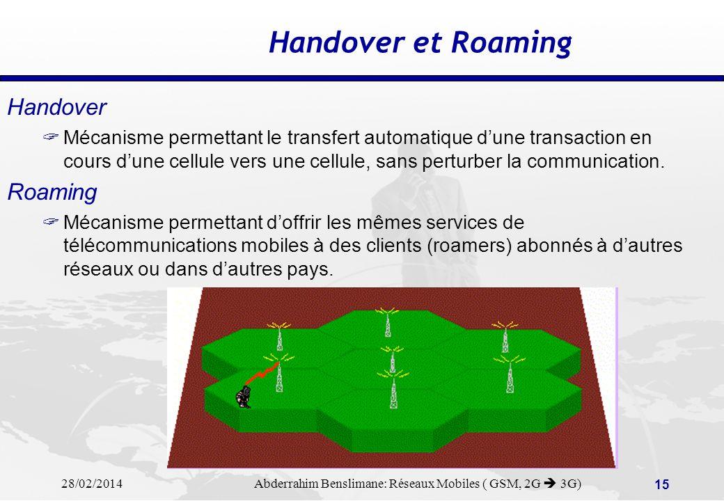 28/02/2014 Abderrahim Benslimane: Réseaux Mobiles ( GSM, 2G 3G) 14 Couverture Cellulaire