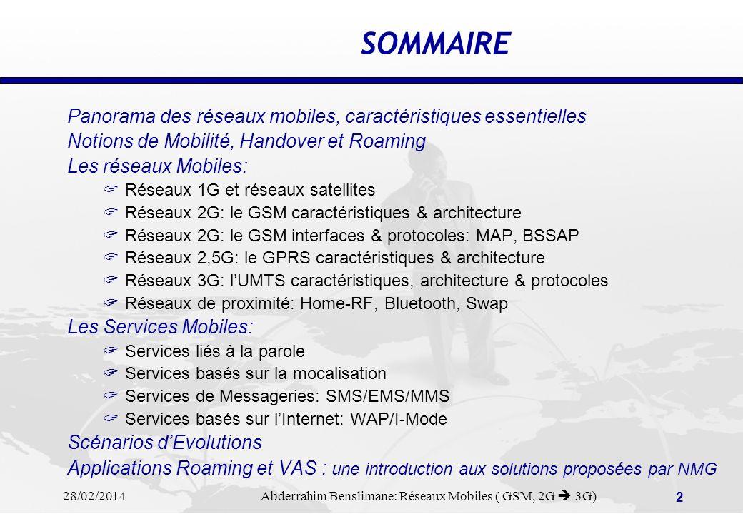 28/02/2014 Abderrahim Benslimane: Réseaux Mobiles ( GSM, 2G 3G) 52 Business corporate Consumer Alert InfoGuideManagement Network operator Typical «push and Pull Services