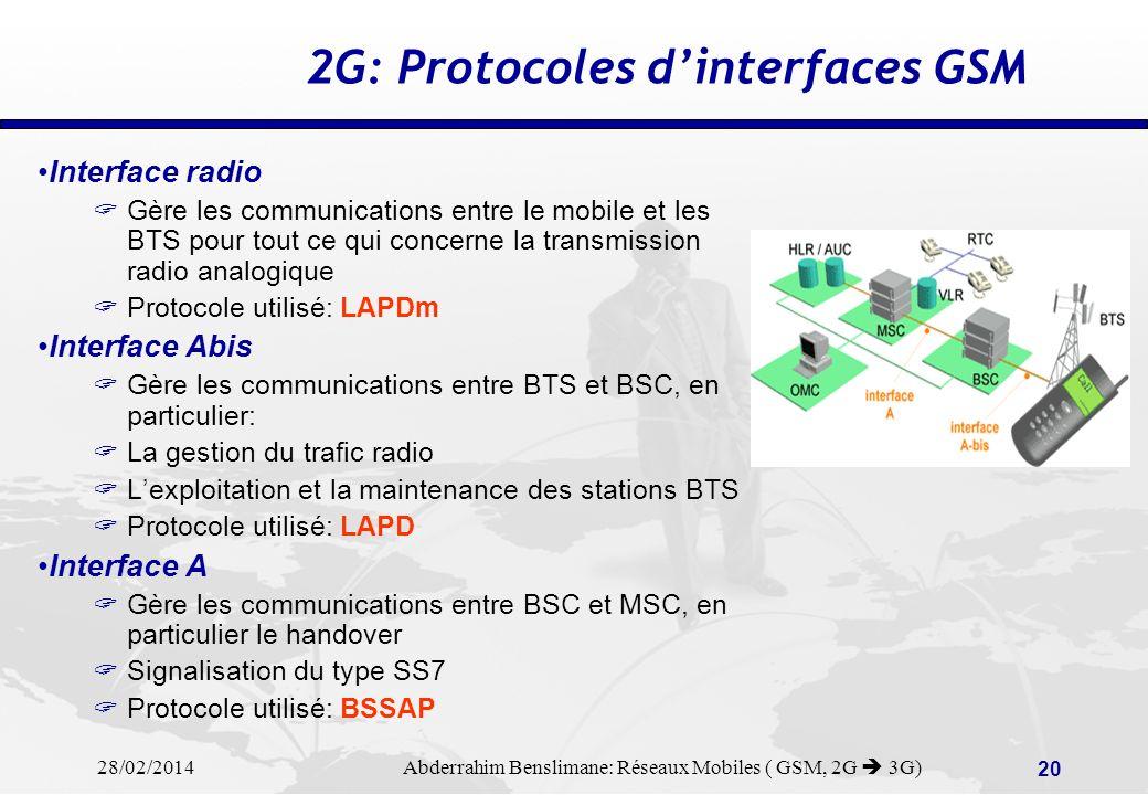 28/02/2014 Abderrahim Benslimane: Réseaux Mobiles ( GSM, 2G 3G) 19 2G: Equipements GSM: HLR, VLR & AuC HLR Maintient et remet à jour les informations de localisation et de profils de services des clients abonnés chez un opérateur VLR Maintient et remet à jour ces mêmes informations de localisation et de profils de services pour des clients visiteurs en situation de roaming Cette fonctionnalité, bien quindépendante, est le plus souvent intégrée dans le switch (MSC) AuC = Autentication Centre Gère les fonctions de sécurité liées à lidentité des usagers Réalise lencryptage des informations radio.