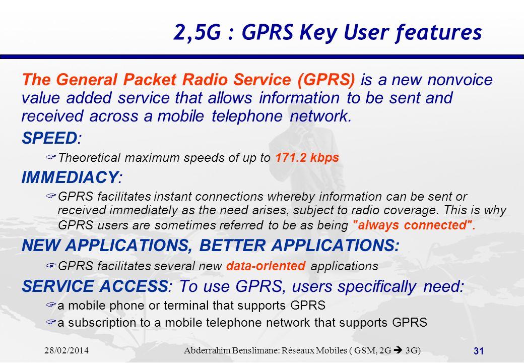 28/02/2014 Abderrahim Benslimane: Réseaux Mobiles ( GSM, 2G 3G) 30 2G to 3G Evolutions (3)