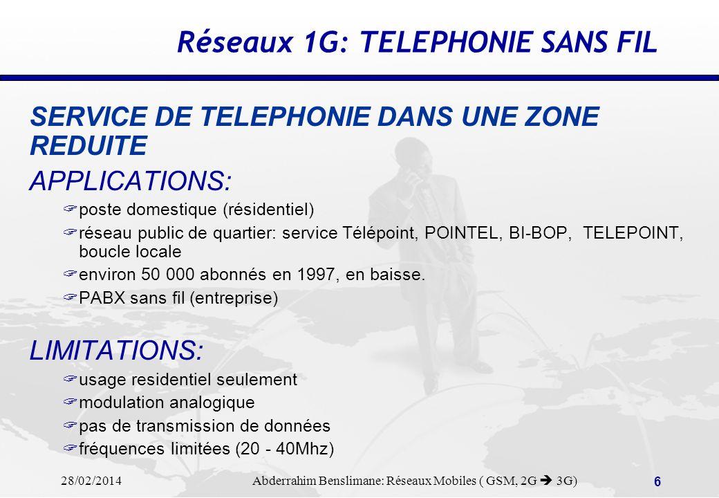28/02/2014 Abderrahim Benslimane: Réseaux Mobiles ( GSM, 2G 3G) 56 SMS: Short Messaging Services Allow subscriber to send/receive simple messages (max.