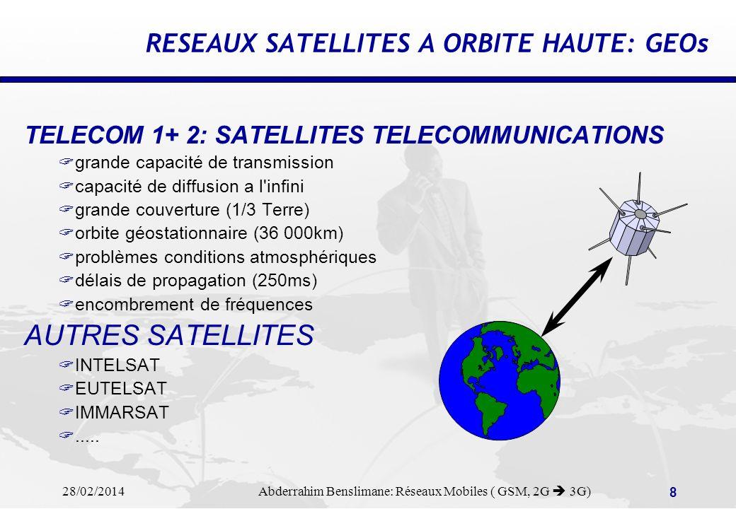 28/02/2014 Abderrahim Benslimane: Réseaux Mobiles ( GSM, 2G 3G) 8 TELECOM 1+ 2: SATELLITES TELECOMMUNICATIONS grande capacité de transmission capacité de diffusion a l infini grande couverture (1/3 Terre) orbite géostationnaire (36 000km) problèmes conditions atmosphériques délais de propagation (250ms) encombrement de fréquences AUTRES SATELLITES INTELSAT EUTELSAT IMMARSAT.....