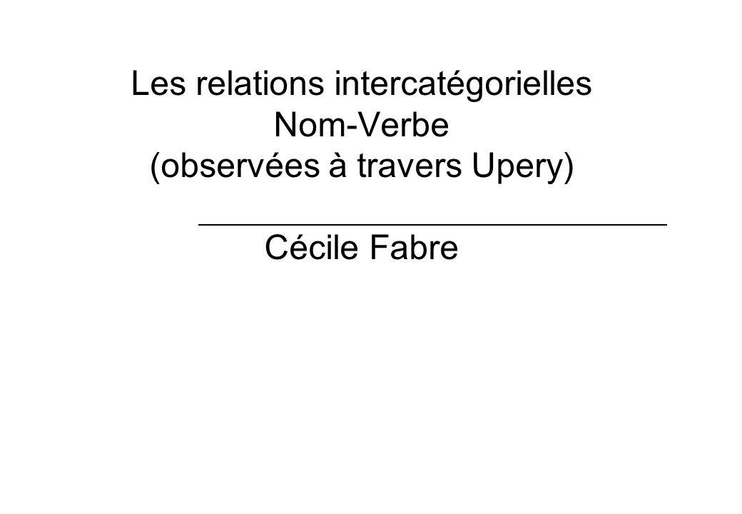 Les relations intercatégorielles Nom-Verbe (observées à travers Upery) Cécile Fabre