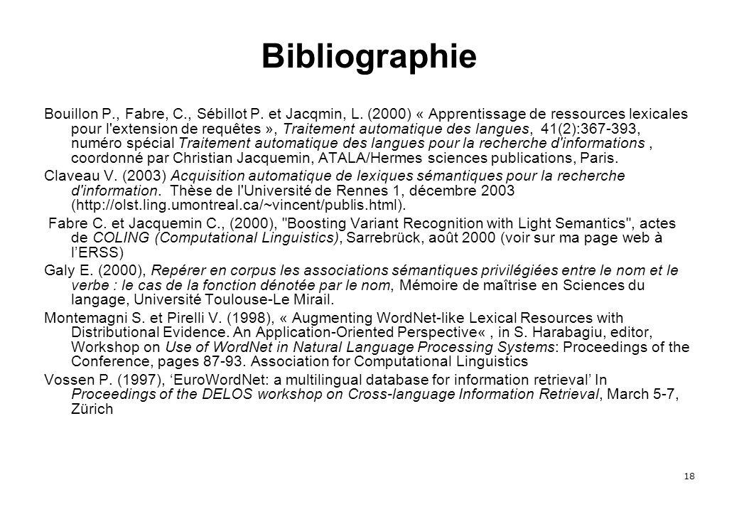 18 Bibliographie Bouillon P., Fabre, C., Sébillot P.