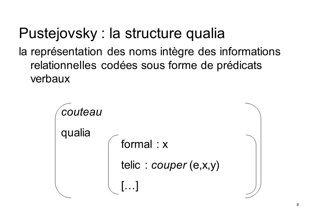 8 Pustejovsky : la structure qualia la représentation des noms intègre des informations relationnelles codées sous forme de prédicats verbaux couteau qualia formal : x telic : couper (e,x,y) […]