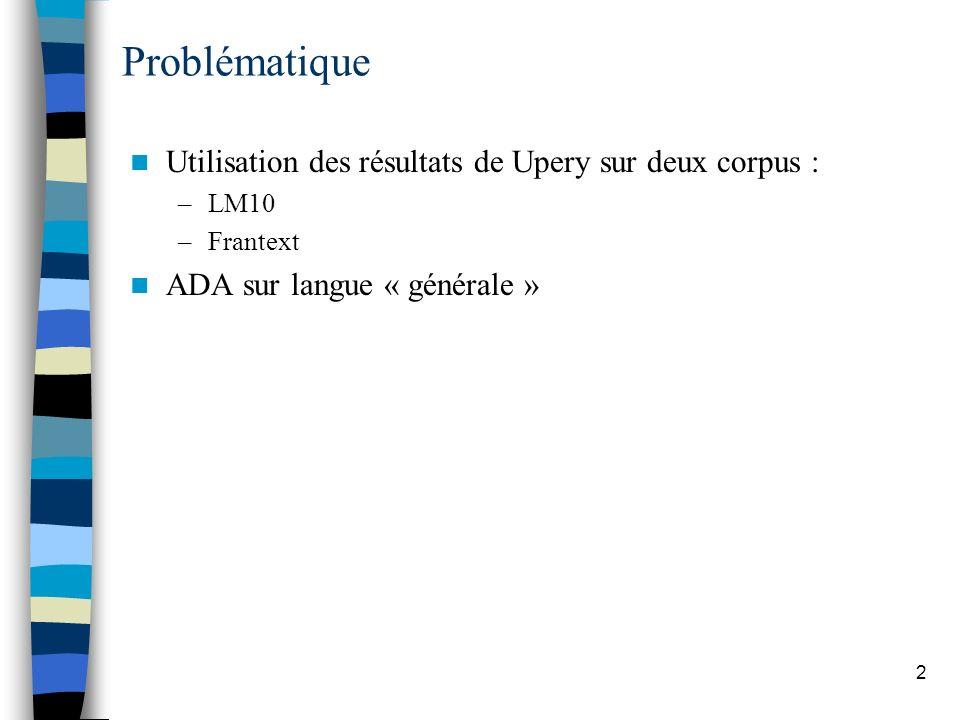 2 Problématique Utilisation des résultats de Upery sur deux corpus : –LM10 –Frantext ADA sur langue « générale »