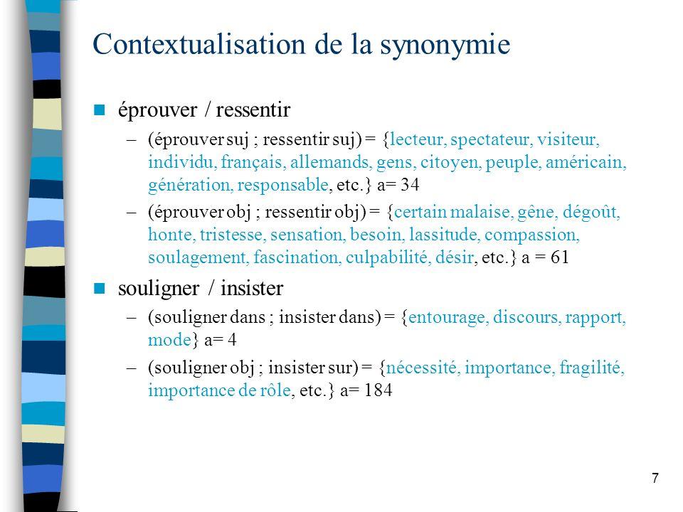 7 Contextualisation de la synonymie éprouver / ressentir –(éprouver suj ; ressentir suj) = {lecteur, spectateur, visiteur, individu, français, alleman