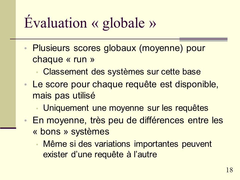 17 Scores et évaluation Courbes rappel/précision Préférence pour les scores de précision