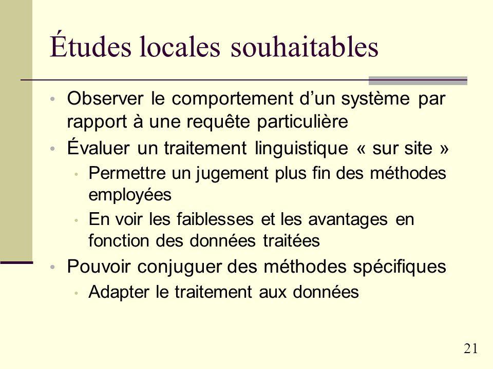 20 Présentation générale de la RI Evaluation « locale »