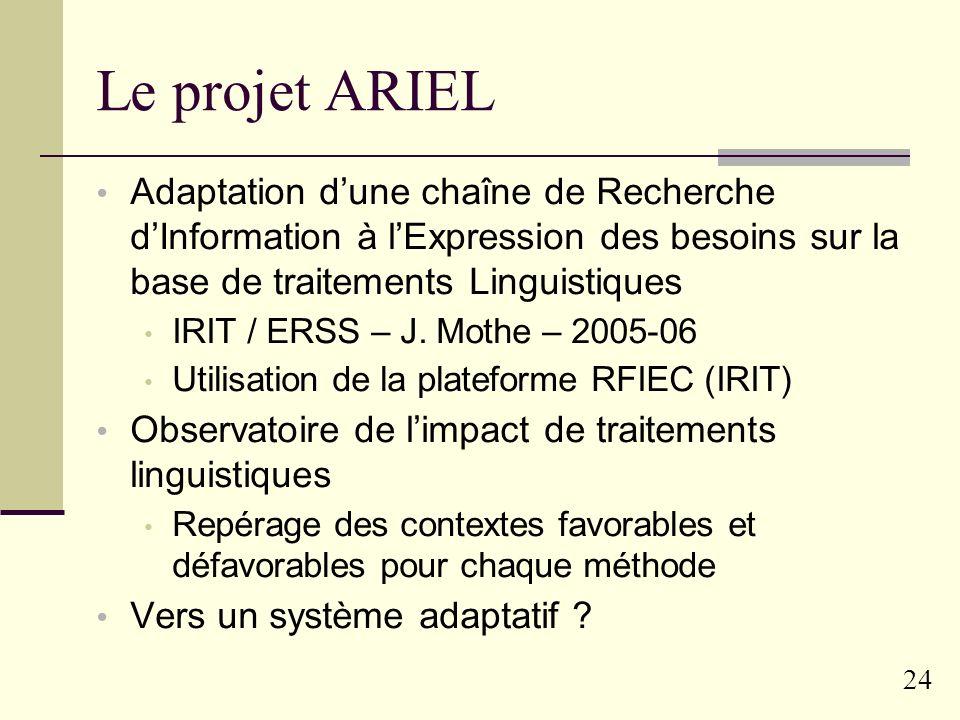 23 Le projet ARIEL Présentation générale